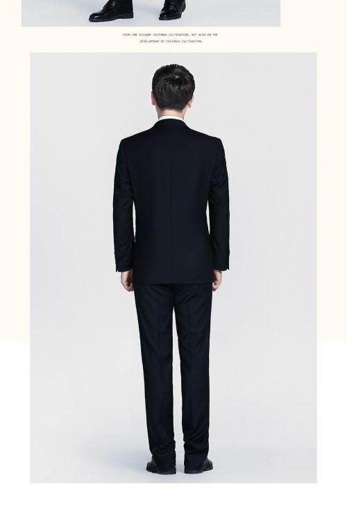 黑色商务两粒扣西服